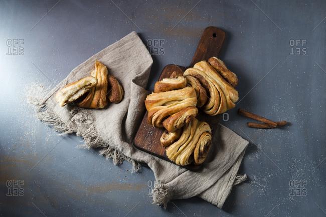 Fresh homemade cinnamon Franzbrotchen