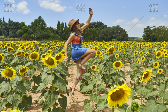 Smiling woman jumping in sunflower field during summer