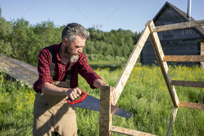 Carpenter sawing plank while building playhouse on sunny day