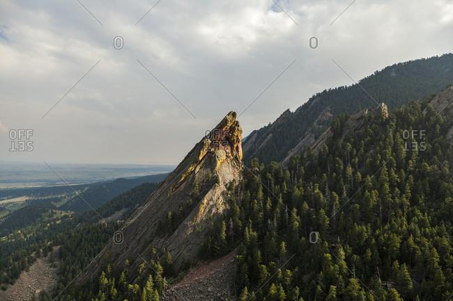 Third flatiron (from second flatiron) rises above boulder, colorado