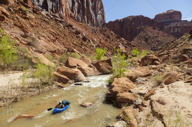 Woman paddles packraft towards small rapid on escalante river, utah
