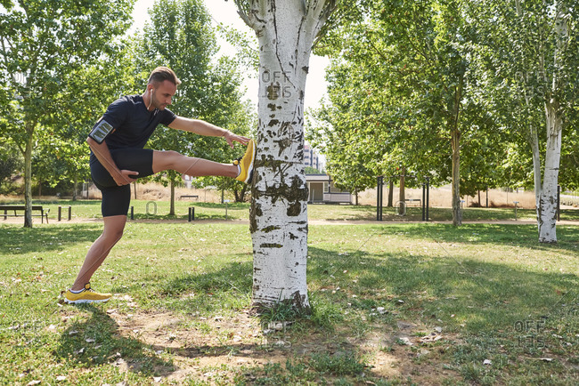 Sportsman doing sports in a park