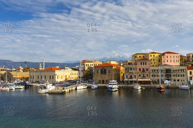 Chania, greece - april 13, 2017: old venetian harbor of chania town on crete island, greece.