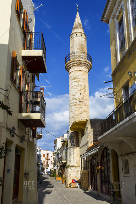 Chania, greece - april 15, 2017: mosque in the old town of chania in crete, greece.