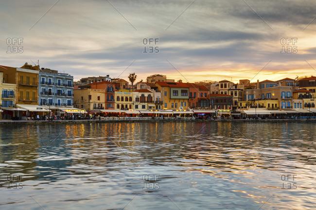 Chania, greece - april 16, 2017: old venetian harbor of chania town on crete island, greece.