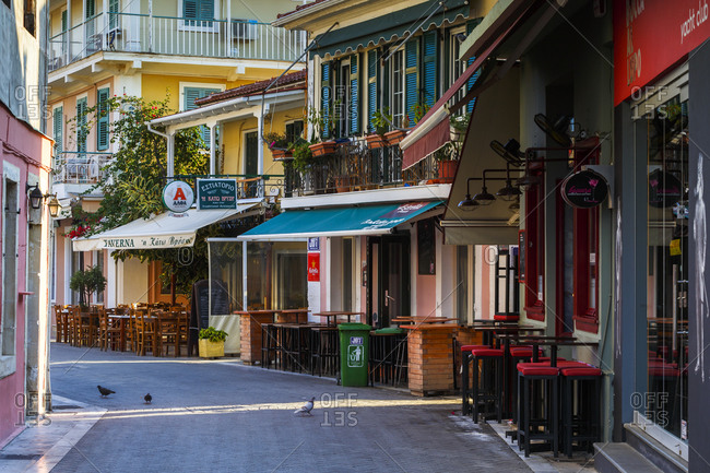 Lefkada, greece - october 2, 2017: architecture of the old town of lefkada in greece.