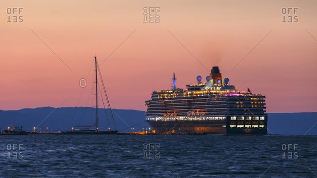 Cephalonia, Greece - October 4, 2017: Cruise ship in the port of Argostoli town on Kefalonia island.