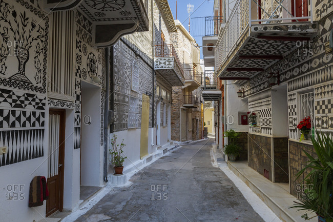 Houses with traditional decoration in pyrgi village on chios island.