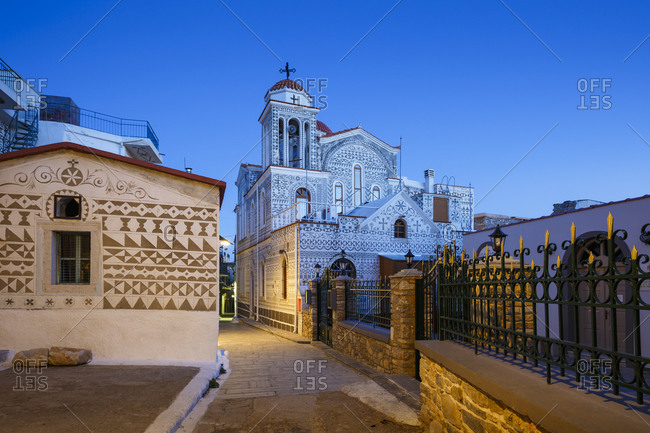 Church with traditional decoration in pyrgi village on chios island.