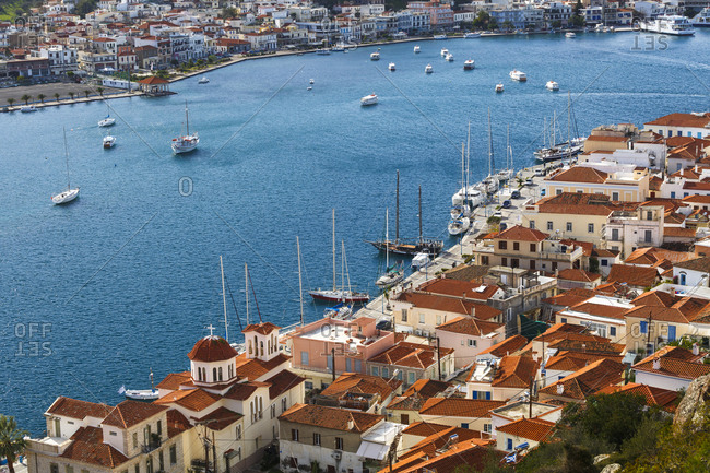 View of the chora village of poros island and galatas village.