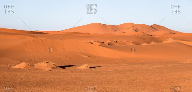 Panoramic view of the desert dunes of erg chebbi, morocco