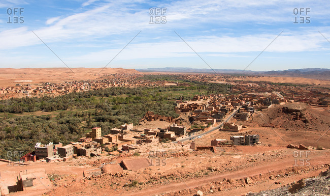Panoramic view of the river dades bank in boumalne dades, morocco