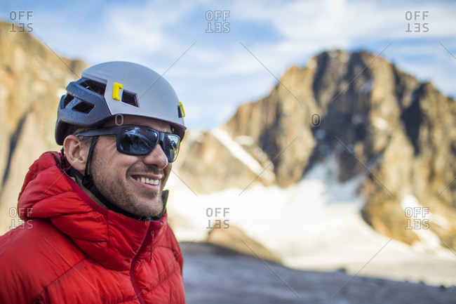 Climber smiling while enjoying the great outdoors.