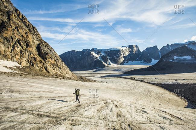 Backpacker treks across glacier in akshayak pass