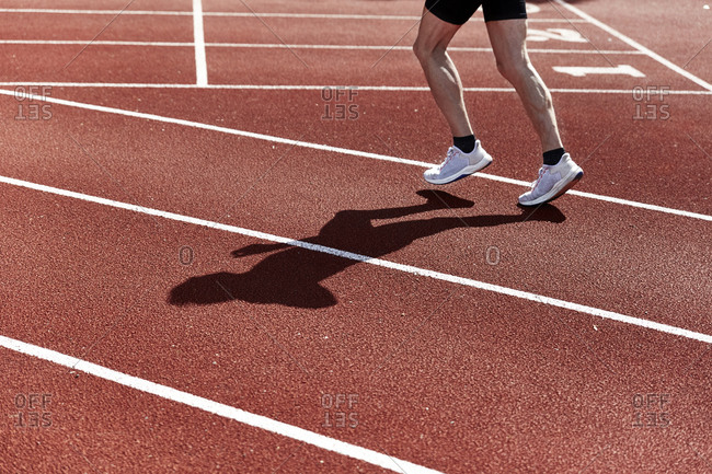 Shoes on running track field