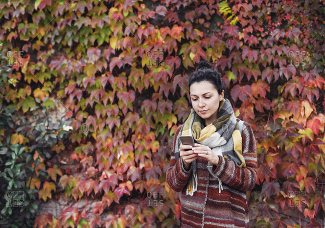 Pretty woman in scarf looking at her cell phone, red autumn leaves
