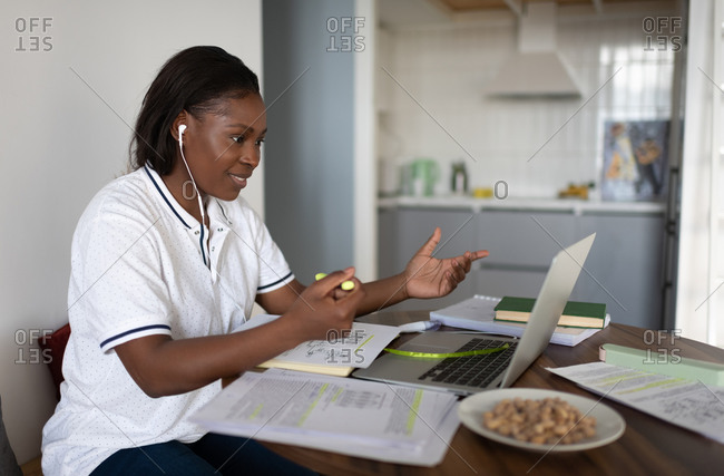 Black student making video call at home