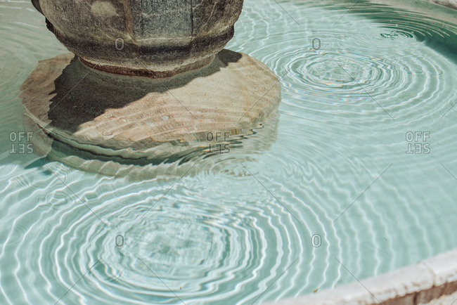 Surface ripples in fountain, texture of water