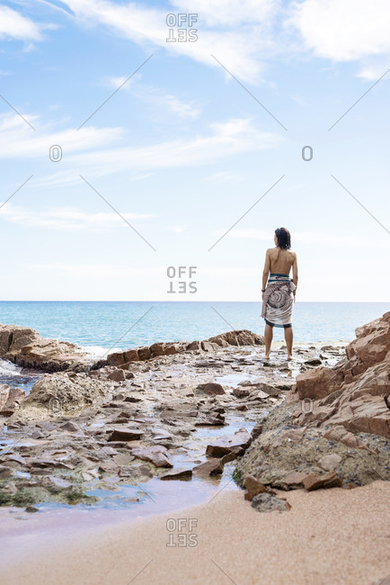 Rear view of a woman standing on seashore, looking to horizon