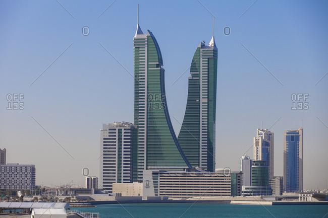 November 30, 2014: Bahrain Financial Harbor, Harbor Towers, Manama, Bahrain, Middle East