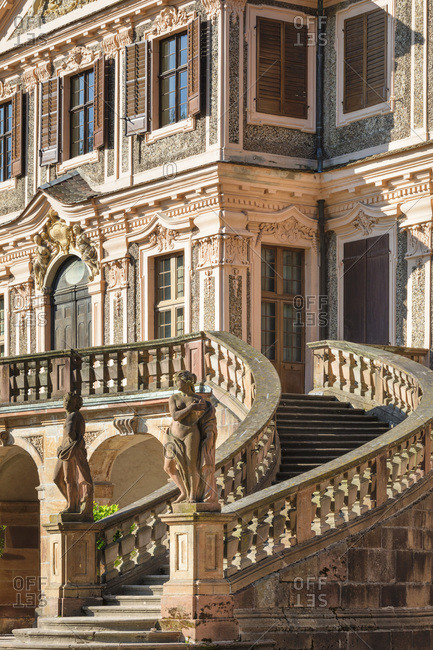 June 17, 2019: Grand staircase, Schloss Favorite castle, Rastatt, Black Forest, Baden-Wurttemberg, Germany, Europe