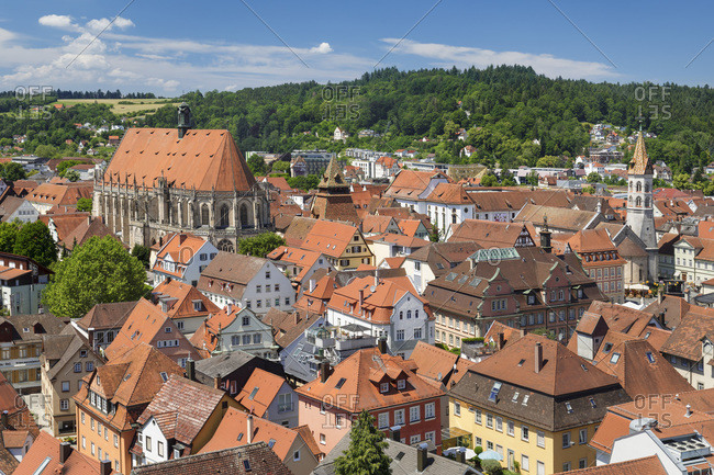View over old town with cathedral and Johanniskirche church, Schwaebisch-Gmund, Baden-Wurttemberg, Germany, Europe