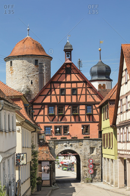 June 18, 2019: Town gate, Langenburg, Hohenlohe, Baden-Wurttemberg, Germany, Europe