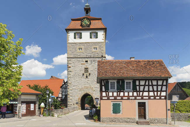 June 18, 2019: Torturm Tower at the town wall, Vellberg, Hohenlohe, Baden-Wurttemberg, Germany, Europe