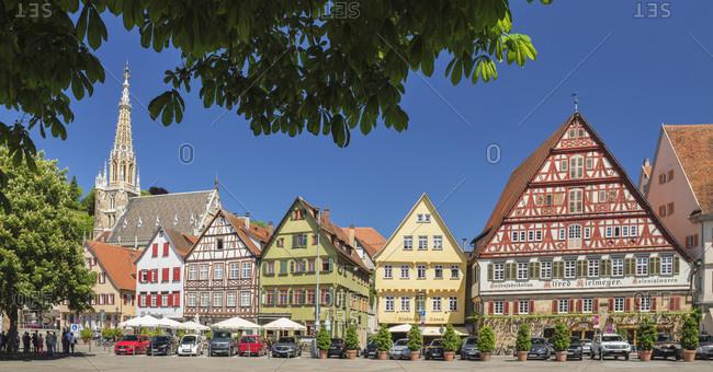June 2, 2019: Frauenkirche church and Kielmeyer House at market place, Esslingen, Baden-Wurttemberg, Germany, Europe