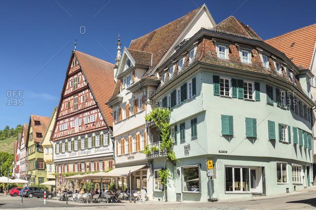June 2, 2019: Cafe and Kielmeyer House at market place, Esslingen, Baden-Wurttemberg, Germany, Europe