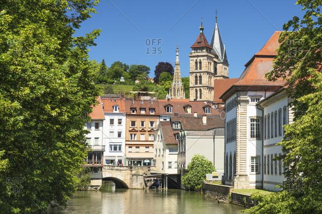 Rossneckarkanal channel with St. Dionys church, Esslingen, Baden-Wurttemberg, Germany, Europe