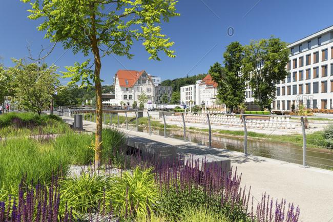 Promenade at Rems river, view to Villa Hirzel, Schwaebisch-Gmund, Baden-Wurttemberg, Germany, Europe