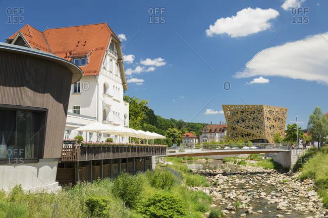 June 19, 2019: View from Villa Hirzel along Rems river to Gold und Silber event location, Schwaebisch-Gmund, Baden-Wurttemberg, Germany, Europe
