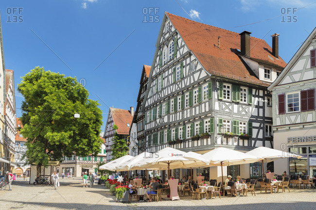 June 19, 2019: Street cafes and restaurants in pedestrian area, Schorndorf, Schorndorf, Baden-Wurttemberg, Germany, Europe