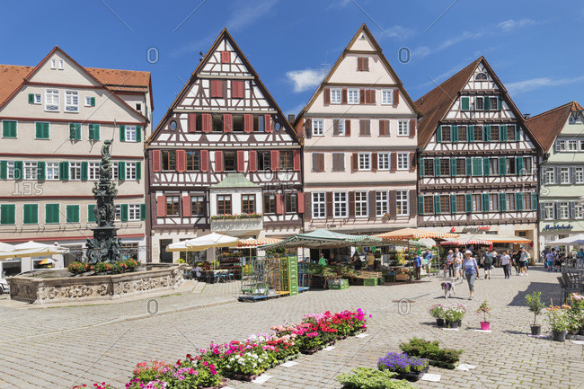 June 3, 2019: Market day at market square, Tubingen, Baden-Wurttemberg, Germany, Europe