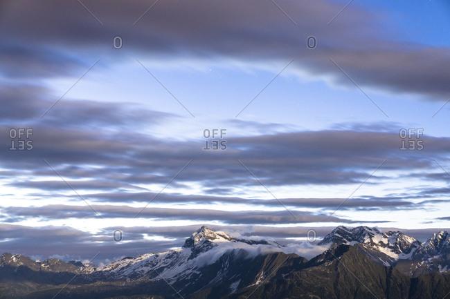 Aerial view of Pizzo Scalino mountain peak during sunrise, Valmalenco, Sondrio province, Valtellina, Lombardy, Italy, Europe