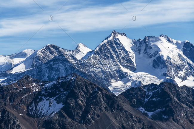 Aerial view by drone of Bernina Group and Biancograt mountain, Engadine, canton of Graubunden, Switzerland, Europe