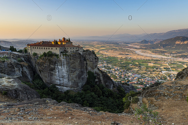 Holy Monastery of St. Stephen at sunset, UNESCO World Heritage Site, Meteora Monasteries, Greece, Europe