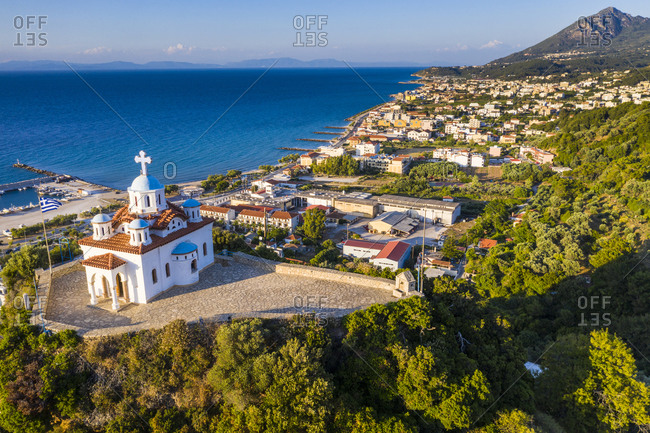 Aerial of by drone Agia Triada church, Paleo Karlovasi, Samos, Greek Islands, Greece, Europe