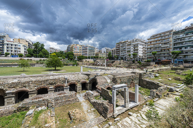 June 23, 2020: Ancient Agora (square), UNESCO World Heritage Site, Thessaloniki, Greece, Europe