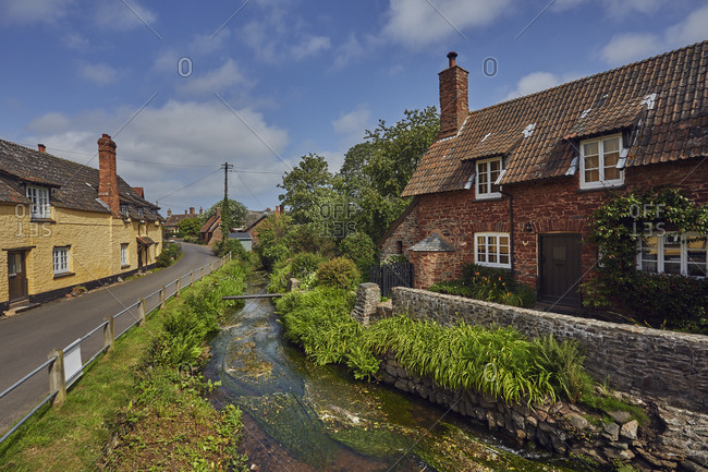 Old cottages in the village of Allerford, Exmoor National Park, Somerset, England, United Kingdom, Europe