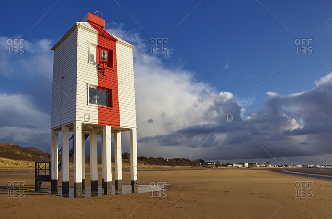 The 19th century wooden Low Lighthouse on the beach at Burnham-on-Sea, on the Bristol Channel coast of Somerset, England, United Kingdom, Europe