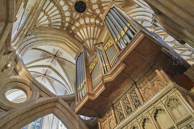 May 14, 2019: The massive organ and the ceiling in Wells Cathedral, in Wells, Somerset, England, United Kingdom, Europe
