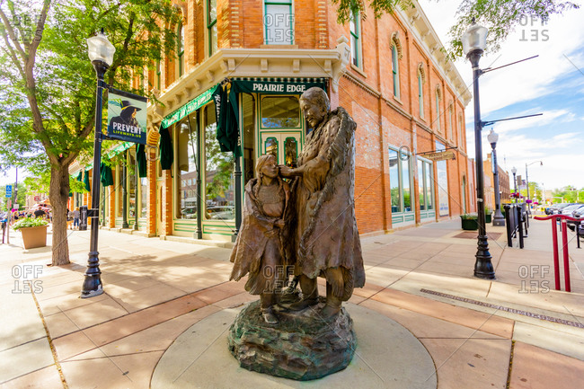 July 24, 2020: A statue of a Sioux Native American woman and her daughter in downtown Rapid City, South Dakota, United States of America, North America