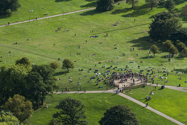 October 6, 2013: An aerial view of Primrose Hill in north London, England, United Kingdom, Europe