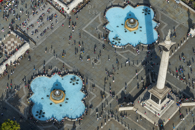 October 6, 2013: An aerial view of Trafalgar Square in London, England, United Kingdom, Europe