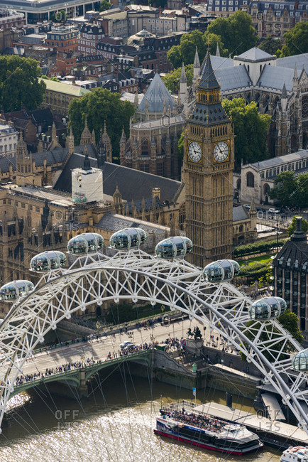 October 6, 2013: An aerial view of The London Eye and The Houses of Parliament, London, England, United Kingdom, Europe