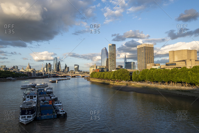 July 6, 2020: The City of London and Southbank from Waterloo Bridge, London, England, United Kingdom, Europe