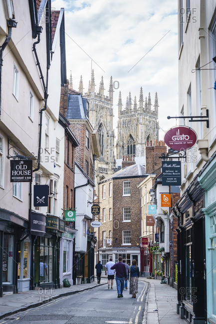 July 21, 2020: Low Petergate leading to York Minster, York, North Yorkshire, England, United Kingdom, Europe