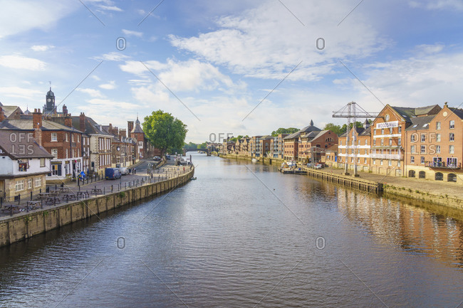 July 23, 2020: The River Ouse runs through the historic city of York, North Yorkshire, England, United Kingdom, Europe